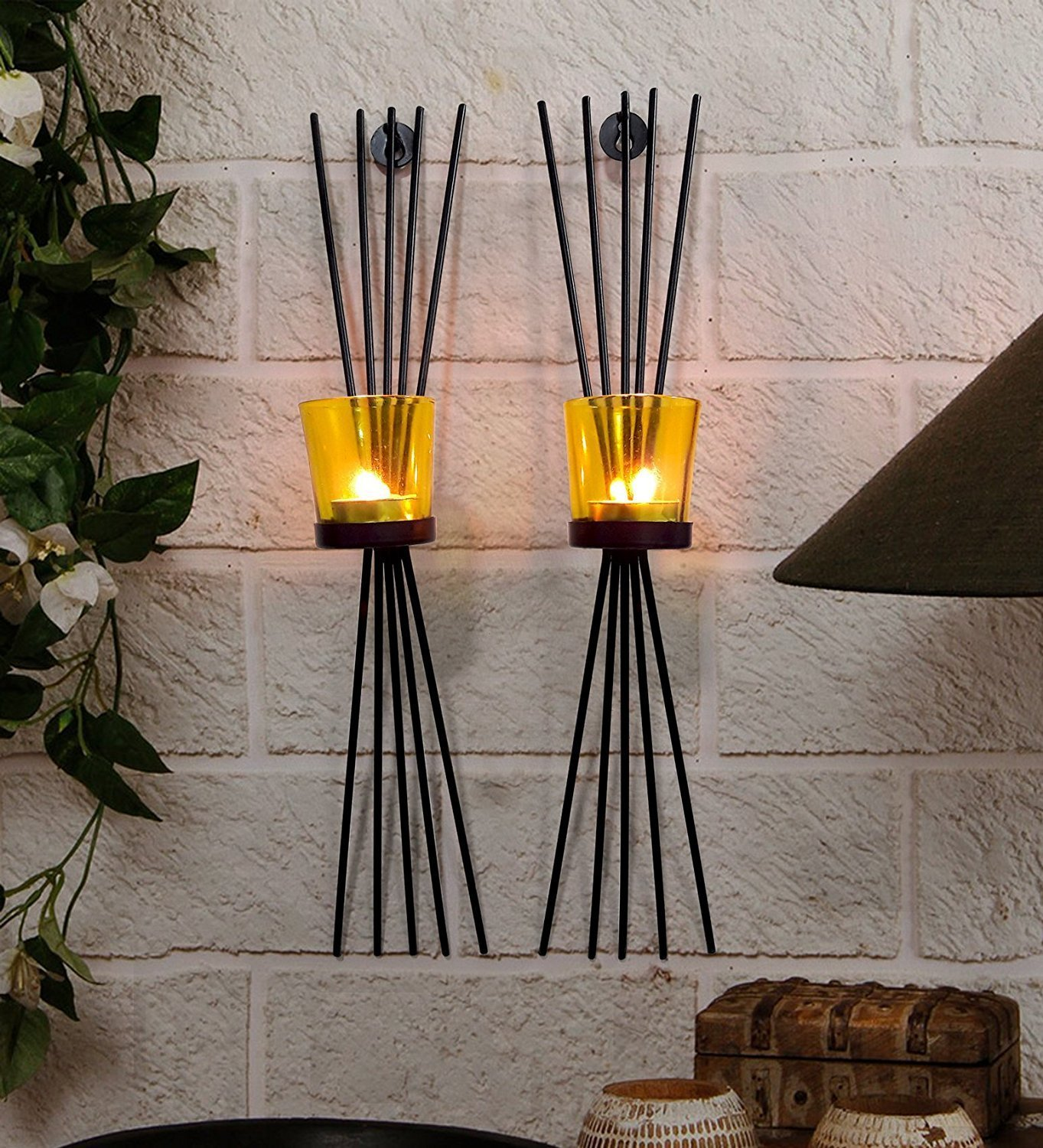 CraftVatika Metal Black Wall Candle Holder Sconces Set Of 2   Wall Hanging Mounted Holders   Tealight Wall Sconce For Gifts For House Warming Ceremony   Home Decor