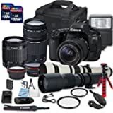 Canon EOS 80D DSLR Camera Bundle with + 2 PC 16 GB Memory Card + Camera Case (3)W/18-55mm+75-300mm+500mm+650-1300mm Lenses)