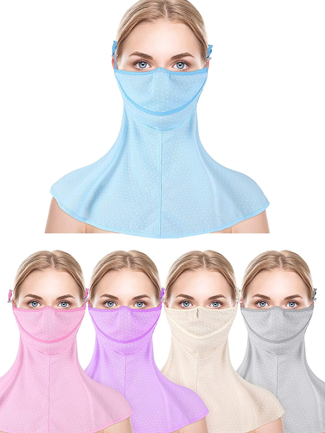 5 Pieces Sun Protection Face Scarf Summer Neck Gaiters Breathable Balaclava Face Covers for Women