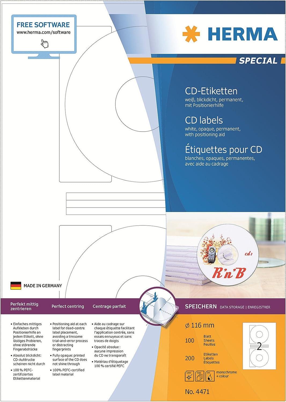 HERMA 5115 CD-//DVD-Etiketten mit Positionierhilfe CD-Aufkleber Klebeetiketten
