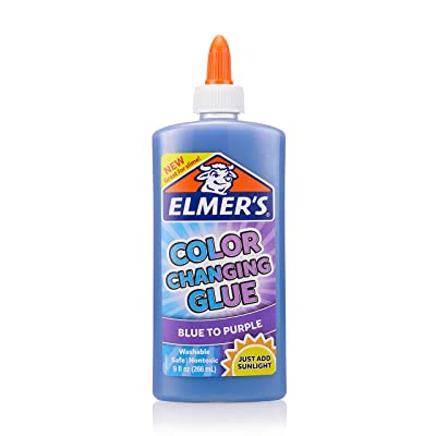 Elmer's Color Changing Liquid Glue, Great for Making Slime, Washable, Blue to Purple, 9 Ounces: Office Products