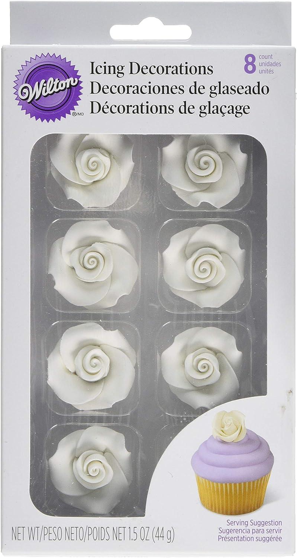Wilton 8-Pack Rose Icing Decorations, Medium, White