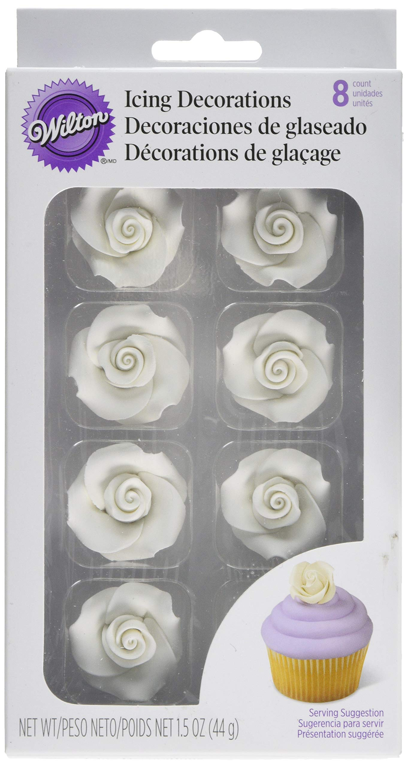 Wilton 710-1493 8-Pack Rose Icing Decorations, Medium, White