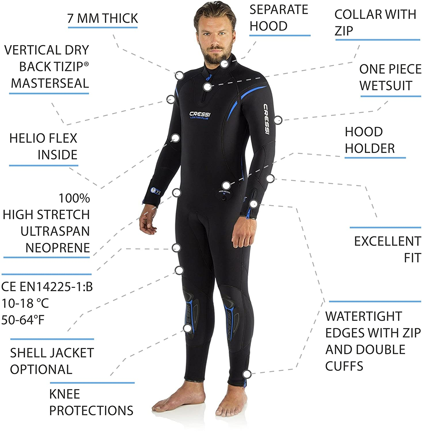 Cressi Tauchanzüge Lontra Plus All-in-One Man Traje, Hombre