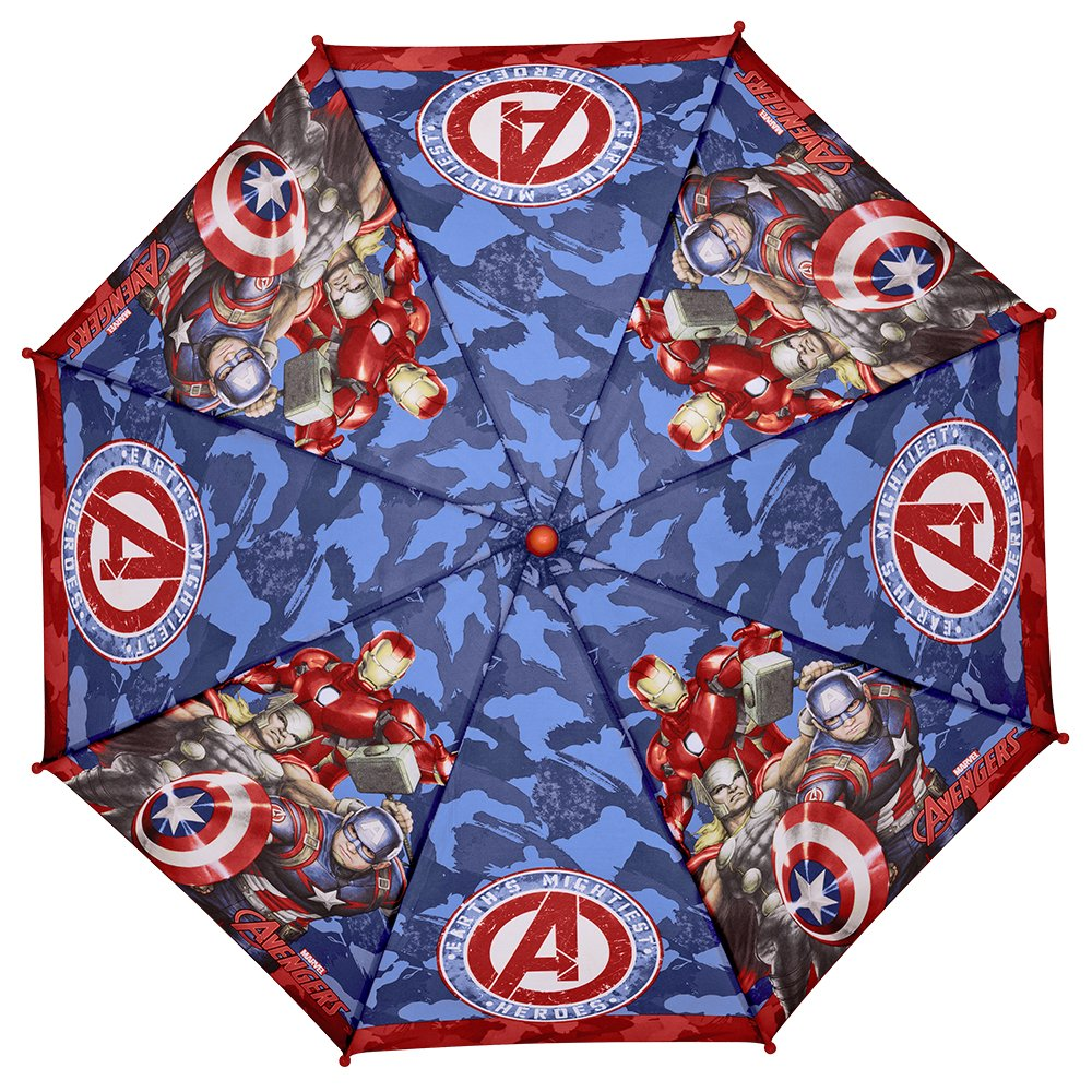Paraguas largo Marvel Los Vengadores Niño con Capitán América Iron man y Thor - Paraguas Avengers resistente y antiviento - Apertura de seguridad - 3-6 Años ...