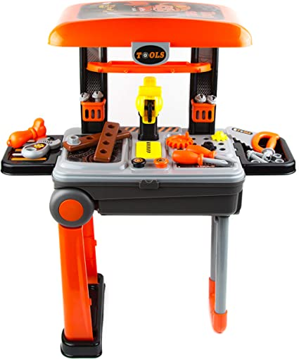 Toy Tool Workbench Set Construction Work Bench Plastic Kids Boys Play Gift Toys