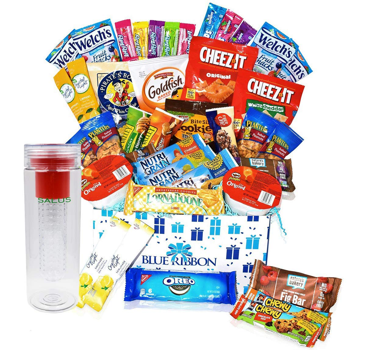 Care Package - Great for Camp, Summer , College Students , Finals, Military, Hospitals , Women and Men - Snack Boxes Gift Variety with Salus Water Bottle