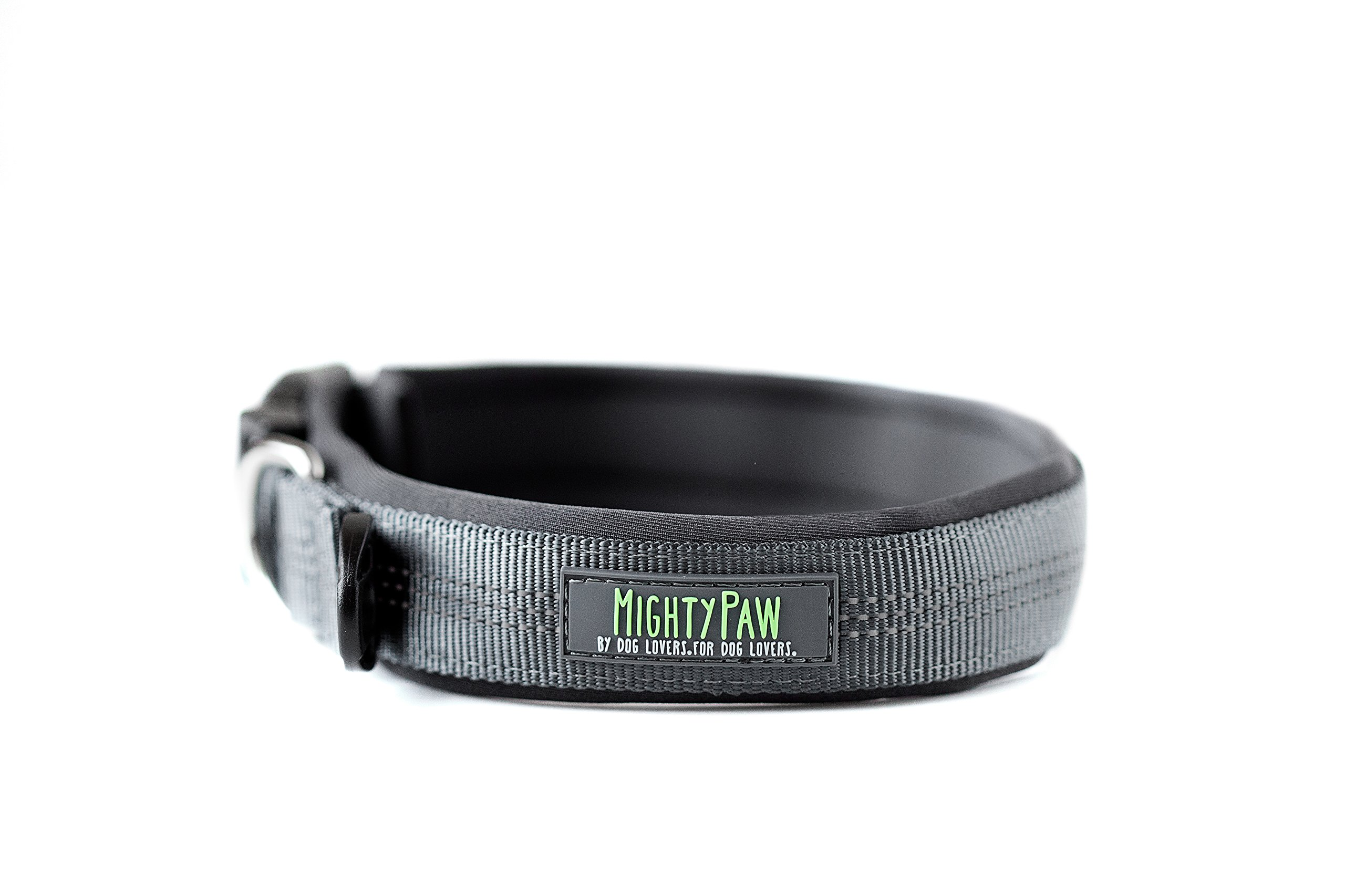 Mighty Paw Neoprene Padded Running Dog Collar, Premium Quality Sports Collar with Reflective Stitching, Extra Comfort for Active Dogs (Grey- Medium 15-18'') by Mighty Paw