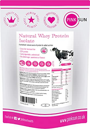 PINK SUN Natural Whey Aislado de Proteína de Suero 420g Hierba Alimentada sin Hormonas Neutro sin Sabor sin Gluten sin Soja Whey Protein Isolate ...