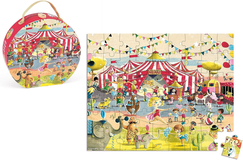 Cirque J02874 Janod Valisette Ronde Puzzle 54 pi/èces