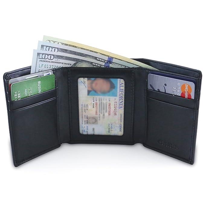 amazon com dash co slim trifold rfid men s wallet w id window