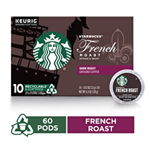 Starbucks Dark Roast K-Cup Coffee Pods — French Roast for Keurig Brewers — 6 boxes (60 pods total)