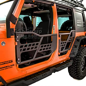 Textured Black Steel Durable Offroad Tubular Tube Doors Front+Rear w//Assembly for Jeep Wrangler 4-Dr 07-18