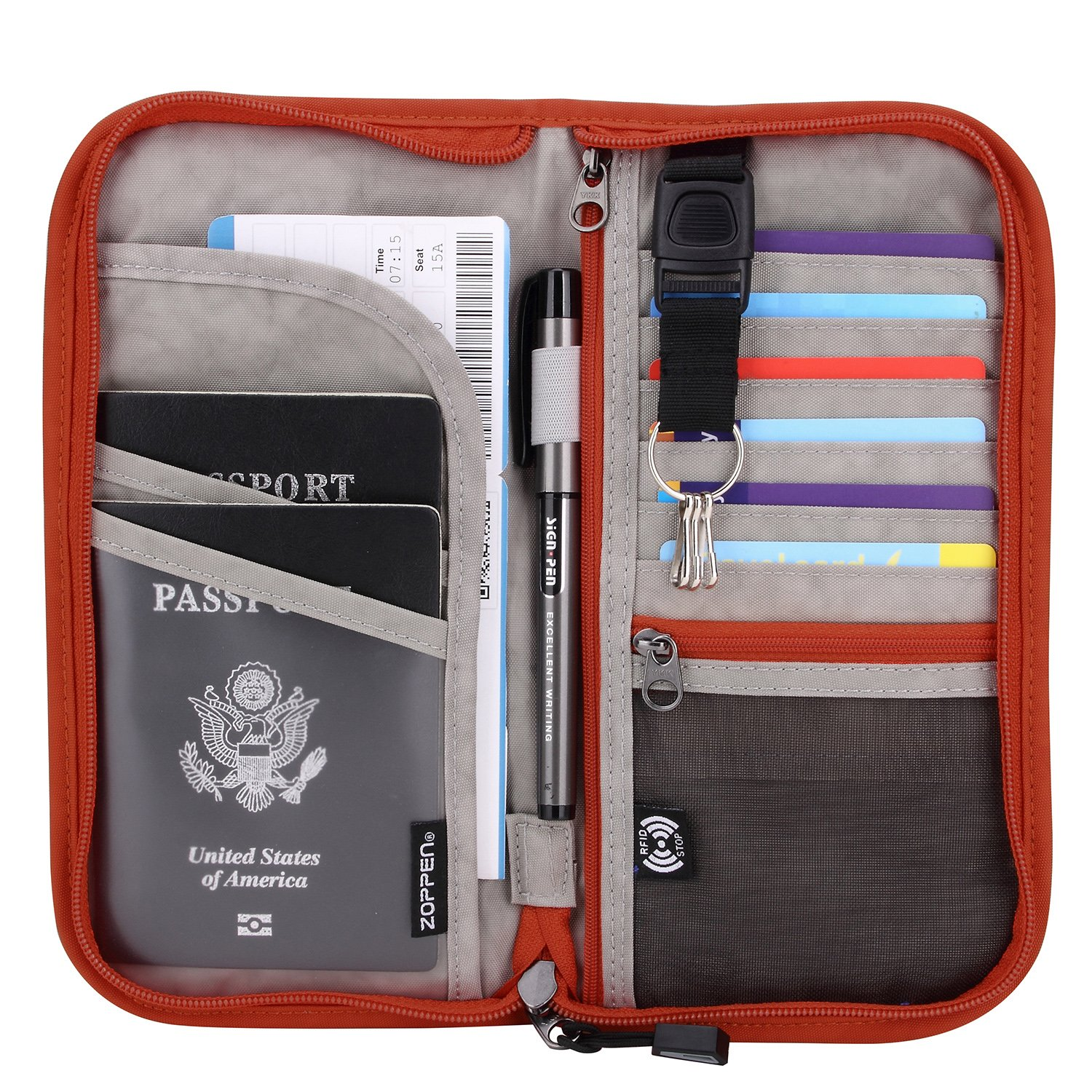 Zoppen RFID Travel Passport Wallet & Documents Organizer Zipper Case with Removable Wristlet Strap, Orange