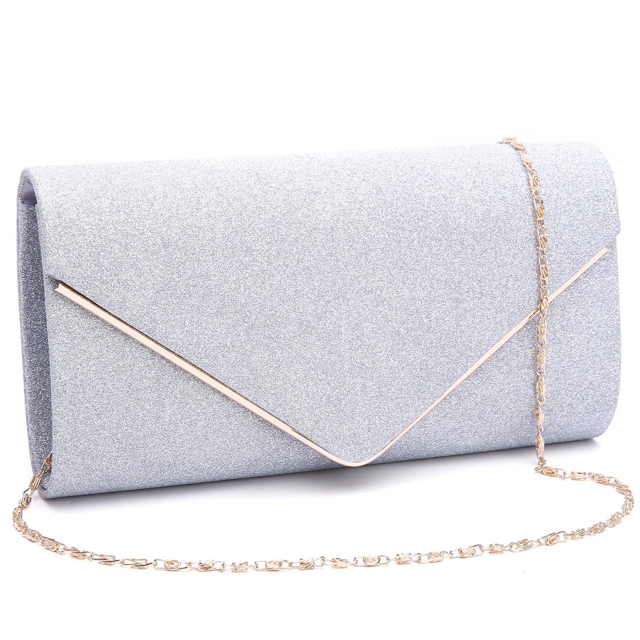GESU Womens Shining Envelope Clutch Purses Glitter Evening Bag Handbags For Wedding and Party.(Silver) by GESU (Image #1)
