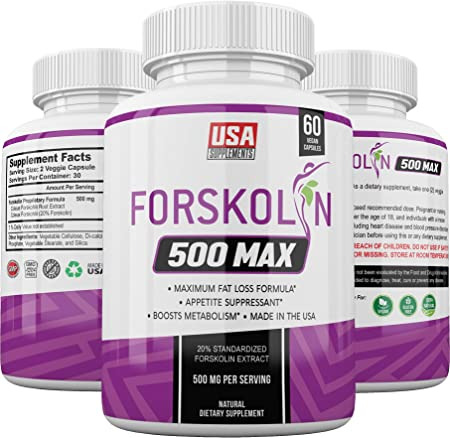 Pure Forskolin Extract Capsules - Made for Women and Men - Coleus Forskohlii Pills Made Proudly by USA Supplements