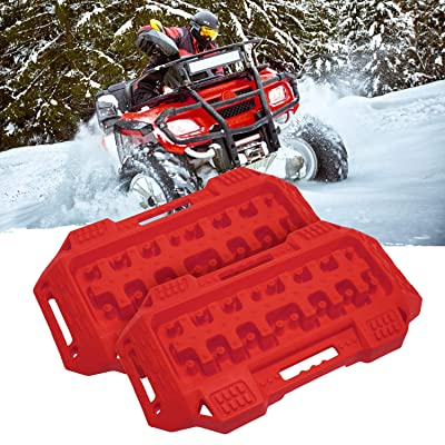FIREBUG Off-Road Recovery Track, Traction Boards, Tracktion Mat, 2 Pcs Recovery Tracks Traction Mat for 4X4 Jeep Mud, Sand, Snow Tire Traction (Red): Automotive