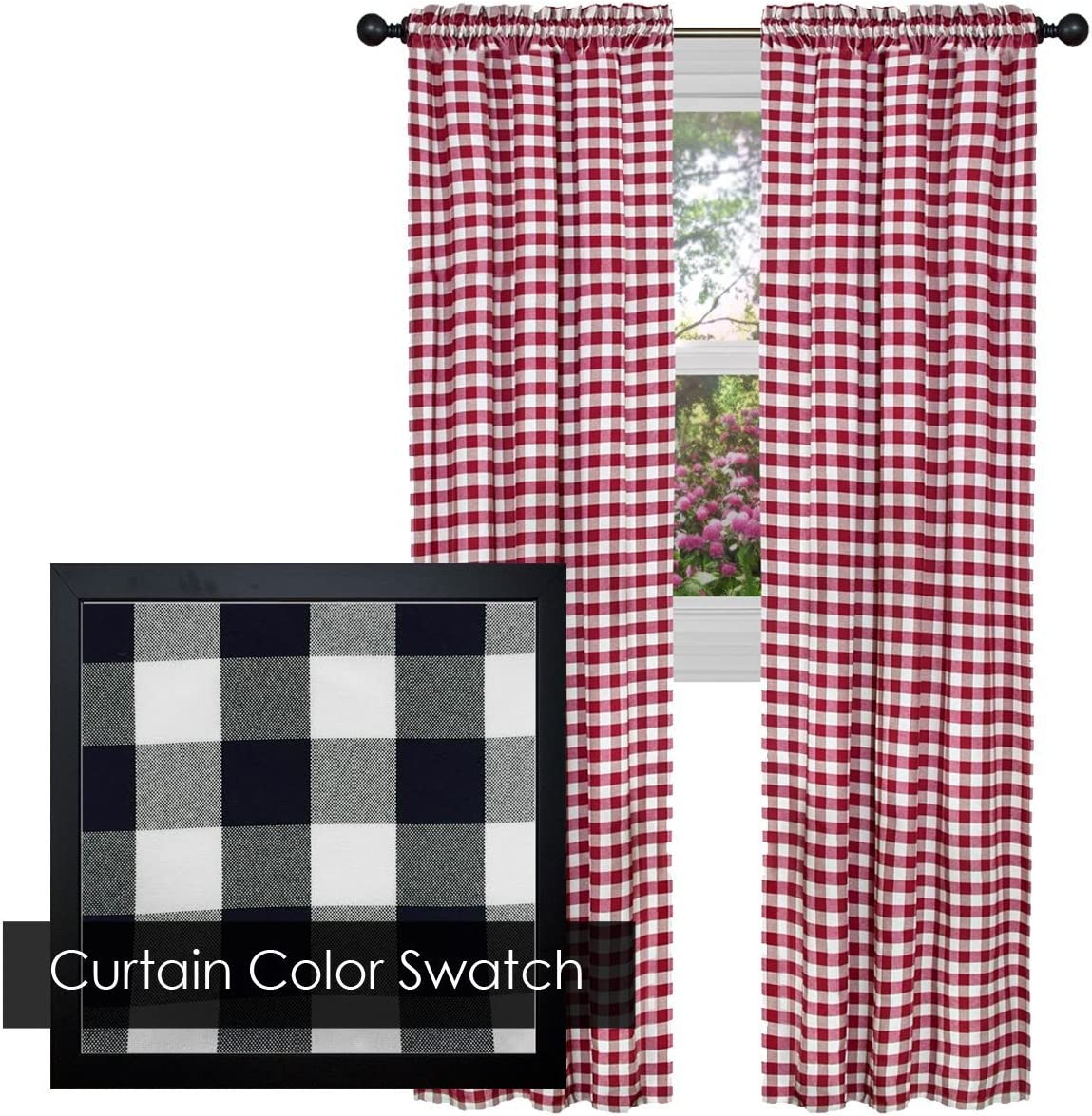 ArtOFabric Checkered Polyester Gingham Curtain Panel Set of 2 Black 58 X 120 Inch