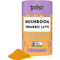 Teelixir Mushroom Turmeric Latte (100 g) Certified Organic Golden Milk Powder with Cordyceps Superfood Mushroom Extract, Curcumin and Ginger - Vegan, Paleo, Gluten Free, Unsweetened, Non GMO - Anti inflammatory & Natural Energy Boost - 33 servings