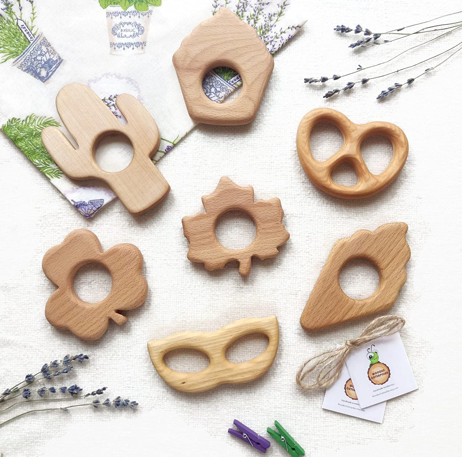 Wooden baby teethers Organic infant toys