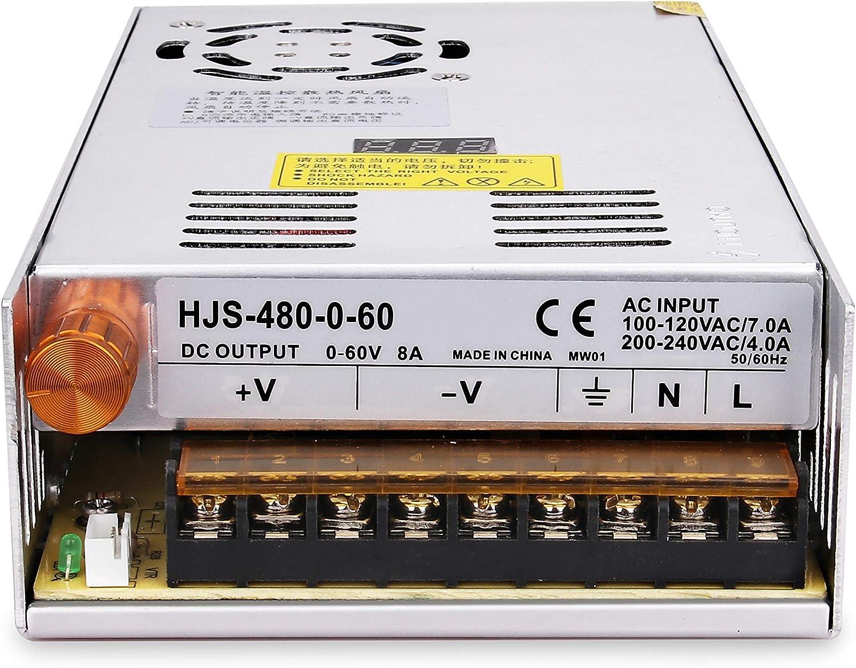 MYSWEETY Adjustable DC Power Voltage Converter AC 110V-220V to DC 0-60V Module 60V 8A Switching Power Supply Digital Display 480W Voltage Regulator Transformer Built in Cooling Fan