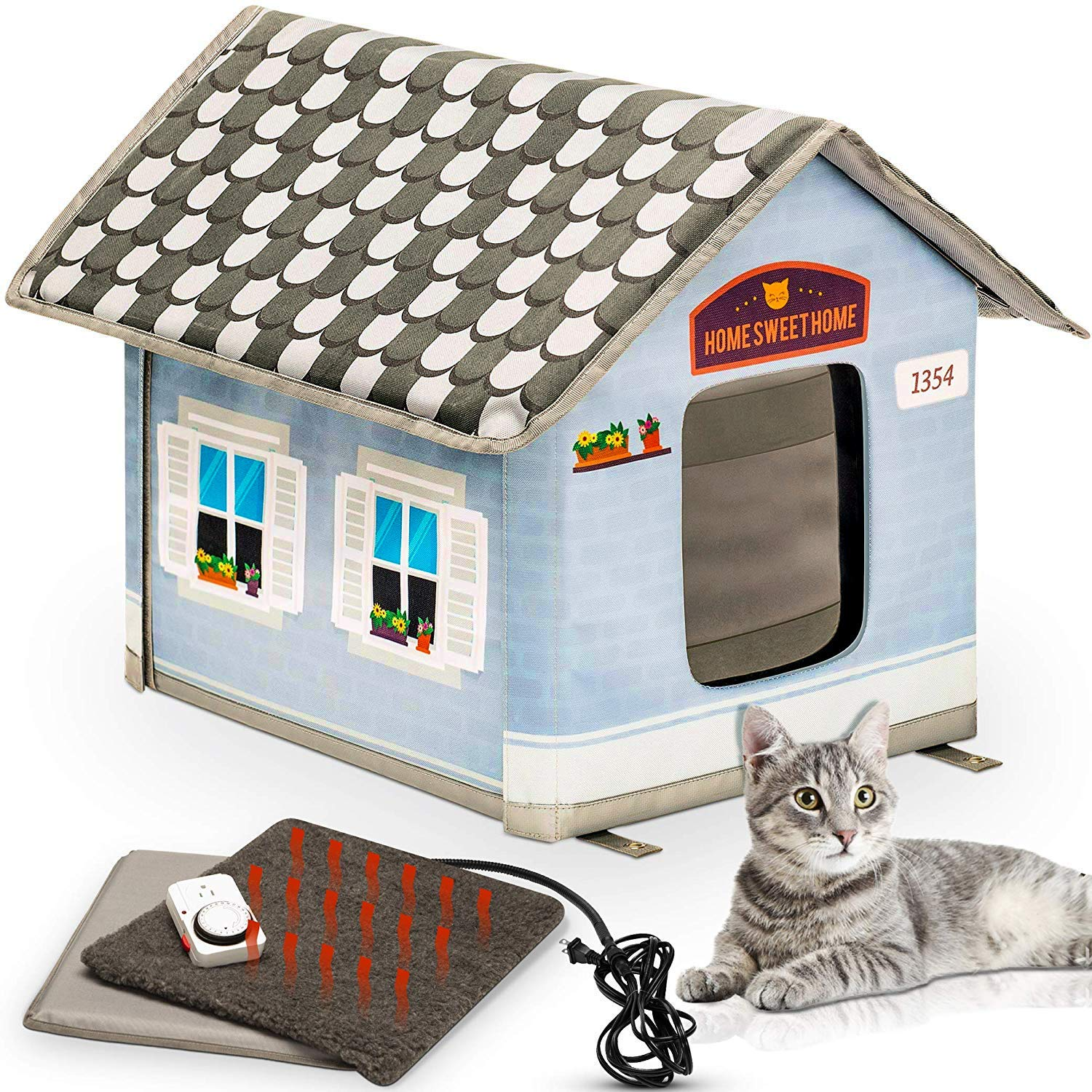 PETYELLA Heated Cat House with Electric Heat Mat and Plug in Timer - Keep Your Cats Warm & Dry by PETYELLA