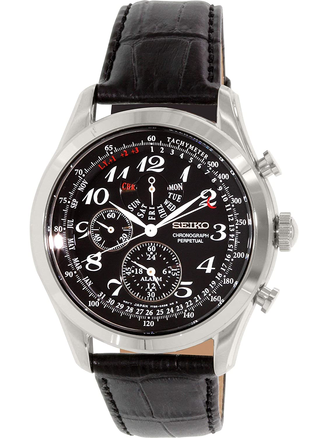 acc00e0c37b Amazon.com  Seiko Neo Classic Chronograph Black Dial Black Leather Mens  Watch SPC133  Seiko  Watches