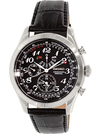 8083e61ebd2 Amazon.com  Seiko Neo Classic Chronograph Black Dial Black Leather Mens  Watch SPC133  Seiko  Watches