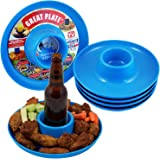 Great Plate Plastic Party Plate for Food and Drink in One Hand - Teal, 6 Piece