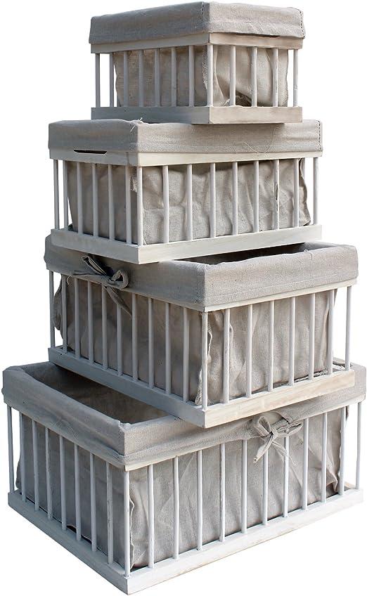 Rebecca Mobili Set 4 Cestas Madera Baúl de Truco Llaves Organizador Dormitorio Pasillo - 20x40x30 (A x AN x FON) - Art. RE6115: Amazon.es: Hogar