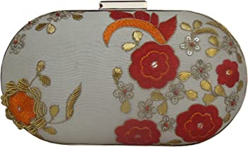 19d5f0ec4cc Spice Art Women's Ivory Zardozi Hand Embroidered Elegant Box Clutch