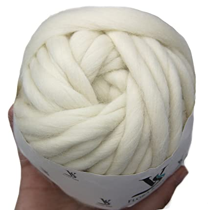 d388de521fd Amazon.com  0.5lb Merino Wool Super Chunky Yarn- Big Roving Yarn for Loom  Weaving Knitting