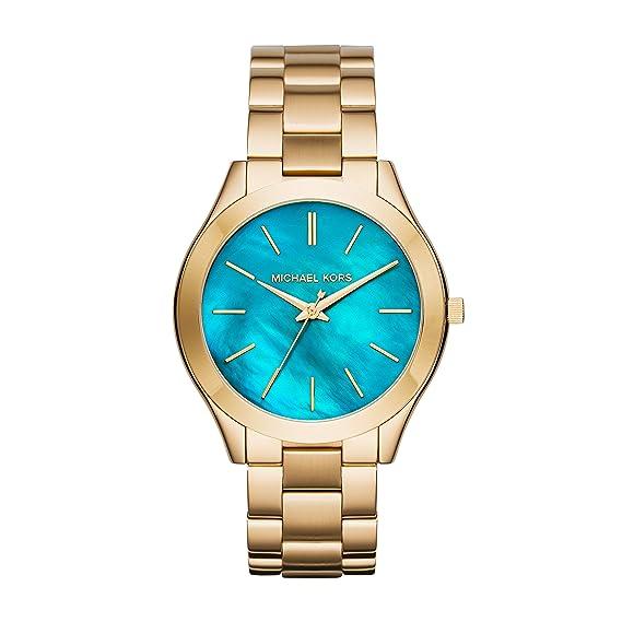 Michael Kors MK3492 - Reloj de cuarzo con correa de acero inoxidable para mujer, color azul: Amazon.es: Relojes