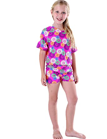 5f0829acc6 Girls Swimsuits Two Piece 4-14 Bathing Suits Tankini Sets Rash Guard Suits  with Short