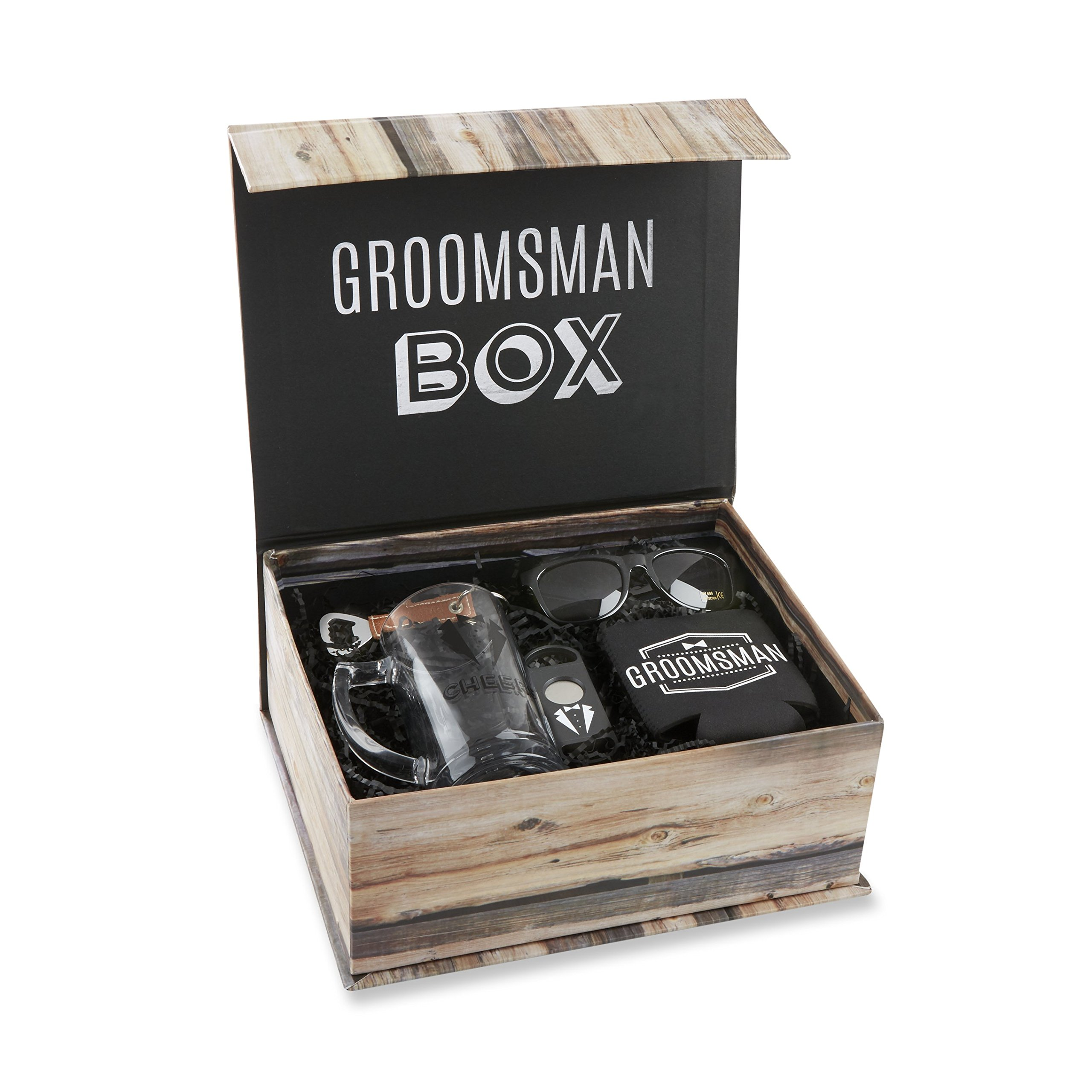 Kate Aspen Groomsman Kit Grooms Gift Set, Black, White and Brown