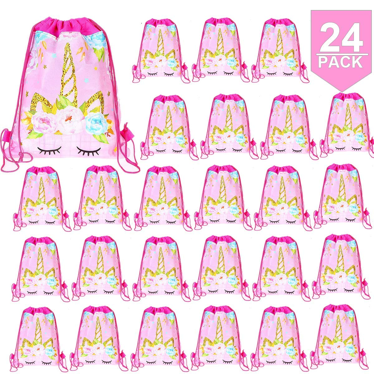 24 Pack Unicorn Drawstring Bag for Gift Bag, Unicorn Party Favor Bags, unicorn party bags for kids birthday Gift Bag Unicorn Party Supplies by POKONBOY