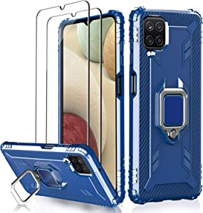 [3 Items] Milomdoi 1 Case +2 Pack Screen Protector for Samsung Galaxy A12 Case, [Military Grade Protective ] 360°Finger Ring Holder Kickstand, for Samsung A12 Case-Blue