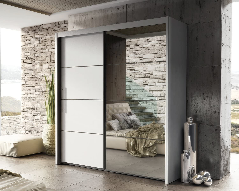 Laura espejo para puerta corredera armario 201 mm blanco mate madera hogar muebles de dormitorio: Amazon.es: Hogar