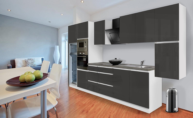 respekta Premium grifflose Küchenzeile Küche 385 cm weiss grau Hochglanz Kühlkombi