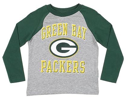 d9eeea5cb Outerstuff Green Bay Packers NFL Little Boys Kids Constant Long Sleeve  Raglan Shirt