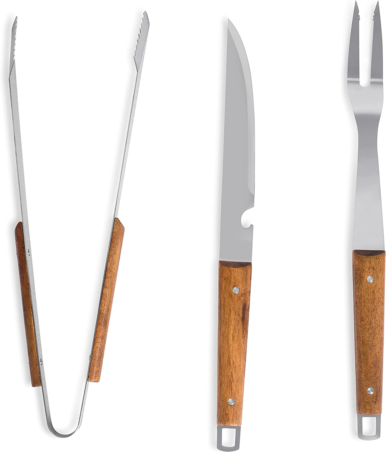 Long Wooden Handle Spatula Barbeque Fork and Serrated Tong Meat Grabbers Smoker Charcoal Gas Electric Cooking Utensils Internets Best Internet/â/€s Best 3-Piece BBQ Grilling Utensil Set