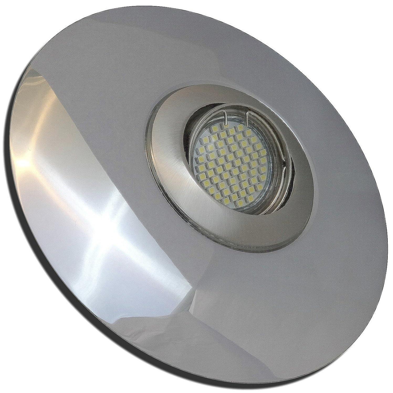 4 Stück SMD LED Einbaustrahler Big Linus 230 Volt 5 Watt Step Dimmbar Schwenkbar Edelstahl geb. + Chrom Warmweiß