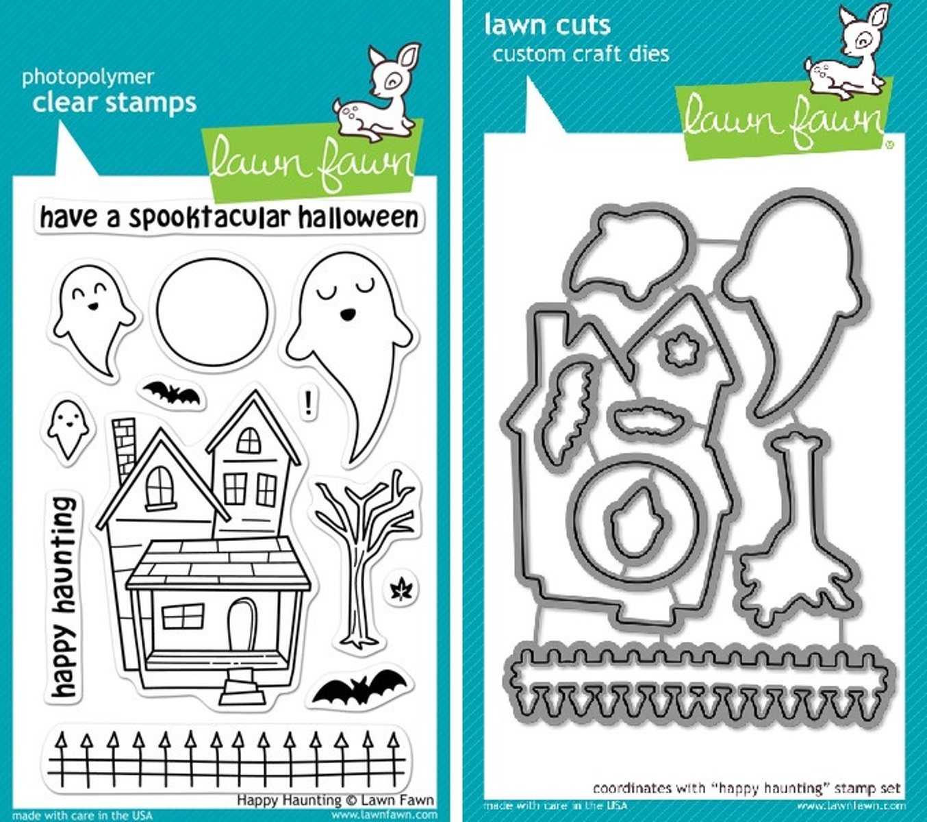 Lawn Fawn Happy Haunting Clear Stamp and Die Set - Includes One Each of LF357 Stamp & LF966 Die - Bundle Of 2