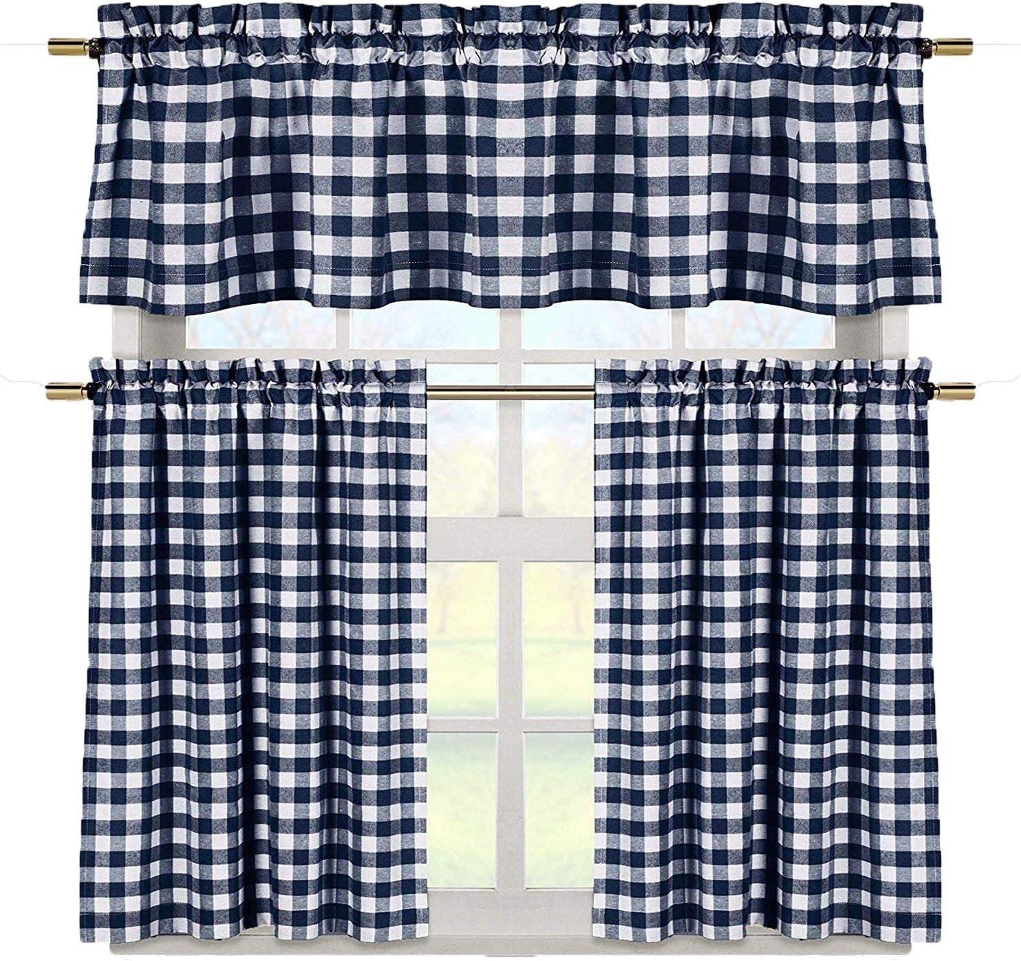 Duck River Textile Buffalo Plaid Gingham Checkered Premium Cotton Blend Kitchen Curtain Tier & Valance Set, Navy Blue & White