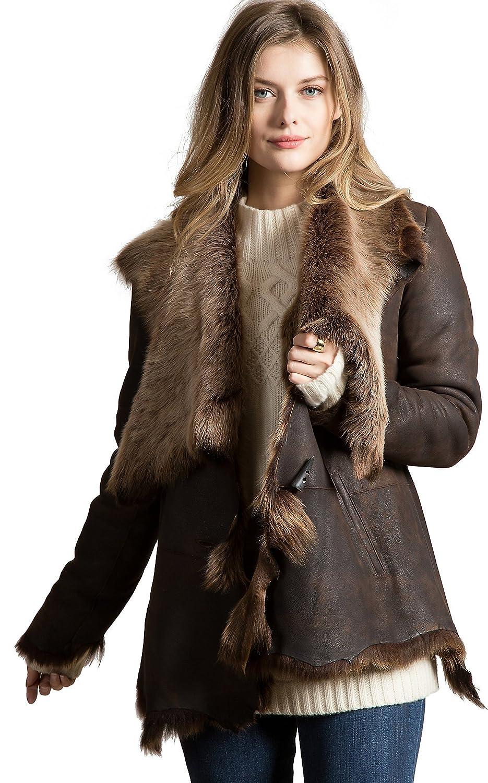 b6df1d246 Montana Raw Edge Toscana Sheepskin Coat at Amazon Women's Coats Shop