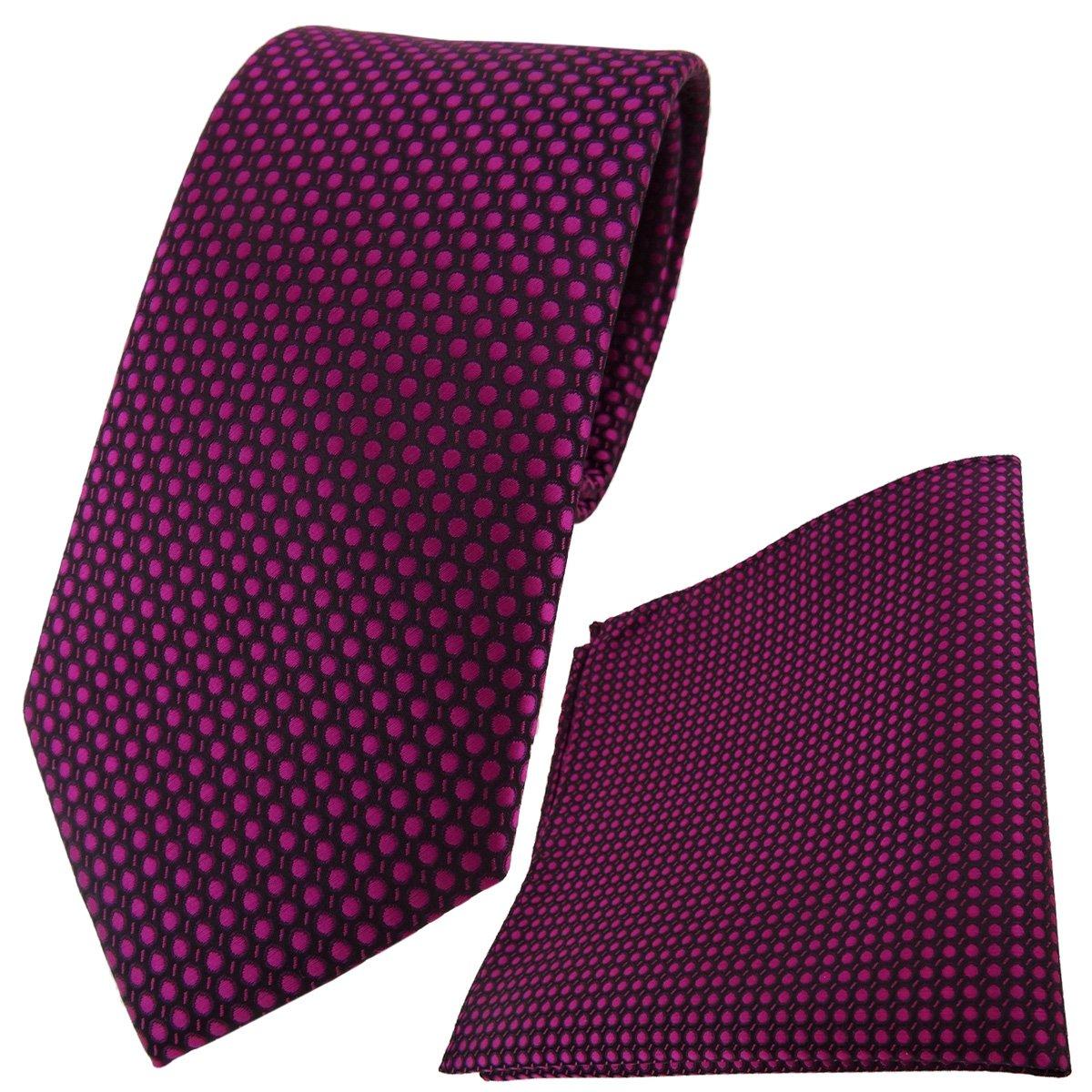 TigerTie Designer Krawatte Einstecktuch lila violett silber gepunktet