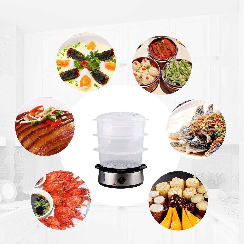 Libre de BPA temporizador y base en acero inoxidable Dise/ño Exclusivo. Aigostar Fitfoodie Steel 30INA-Vaporera el/éctrica para cocinar alimentos al vapor dispone de 3 recipientes de cocinado 800 W