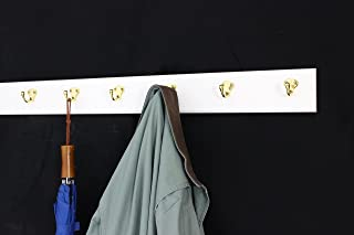"product image for PegandRail White Coat Rack with Solid Brass Single Style Hooks (36"" x 3.5 with 7 Hooks)"