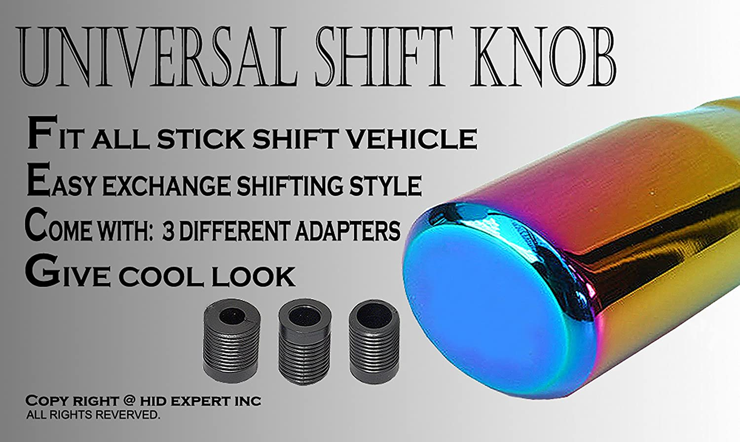 Pack of 1 ICBEAMER Racing JDM Style Manual Stick Shift Transmission Only Neo Chrome Auto Drifting Shape Bar Shift Knob