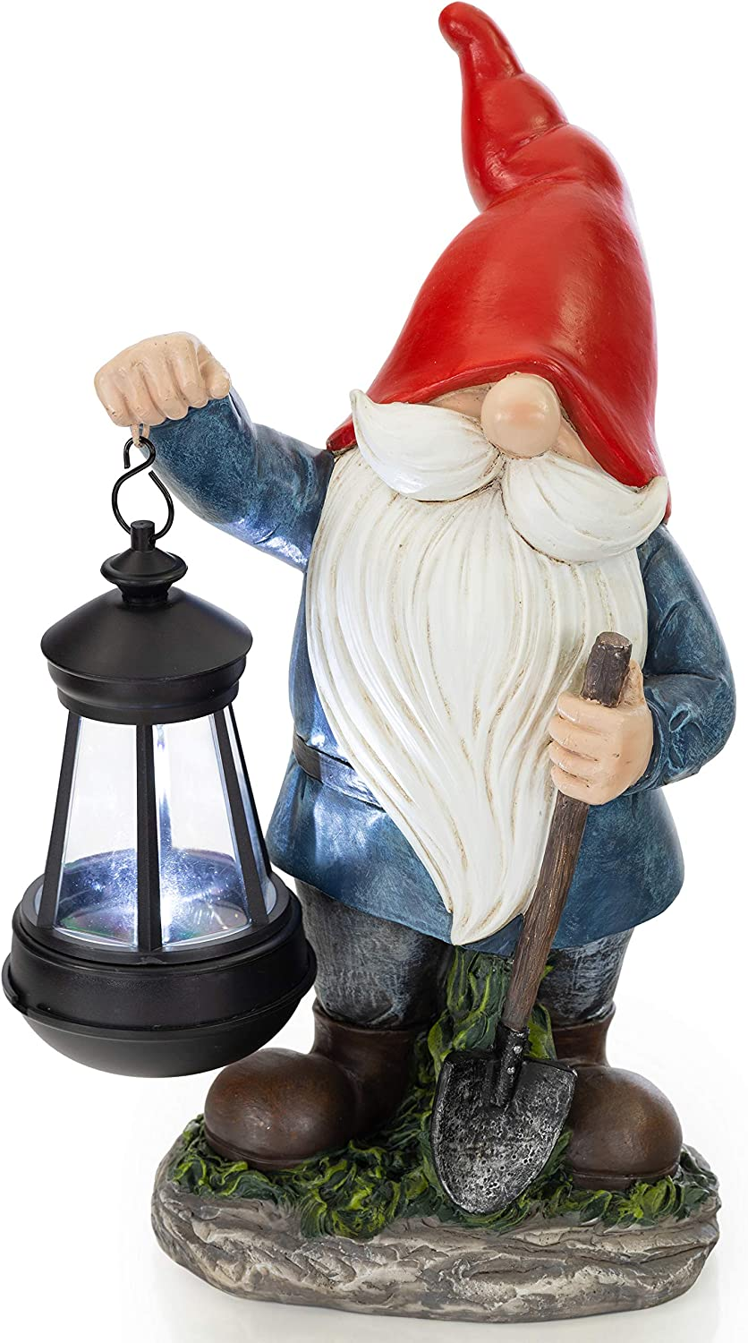 VP Home Earnest Garden Gnome with Lantern Solar Powered LED Outdoor Decor Light (Red Hat)